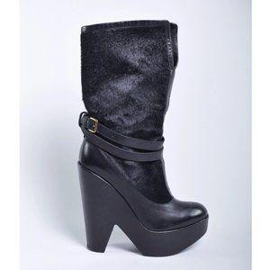 Derek Lam Black Pony Platform Ankle Boots